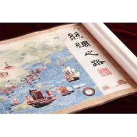 Silk Brocade Silk Road Horizontal Axis Painting- Chinese Silk painting,Chinese Silk,Business Gift, M