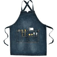 Unisex 100% Cotton Denim Bib Apron with Pockets for Cooking