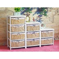 home furniture wooden storage cabinet with woven basket