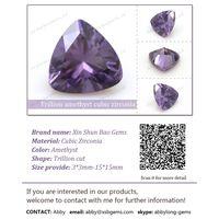 Trillion cut CZ amethyst synthetic diamond thumbnail image