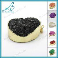 Gold colored edge wholesale druzy jewelry natural druzy quartz pendants thumbnail image