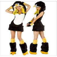 Sexy Cartoon Faux Fur Womens Penguin Furry Raver Costume Complete Set Masquerade thumbnail image