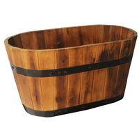 Wooden Barrel Pot Planters Oval Style Flower Plants Wooden Planter thumbnail image