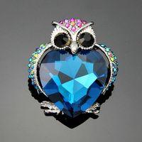 Super Cute blue owl fashion jewelry women's bra pin animal brooches free shipping ag023
