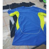 Nylon Spendex fitness shirt with short sleeve or long sleeve
