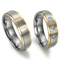 Fashion couple titanium ring with CZ stones
