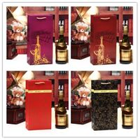 Wine Bottle Paper Gift Bags- Single and Double Bottle Red Wine Alcohol Liquor Spirits Bag