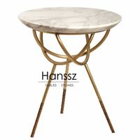 Golden frame round white marble side tables