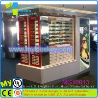 Mobile mall sunglasses display with rolling shutter door
