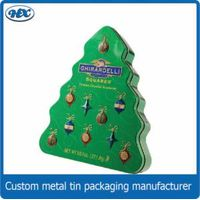 Christmas tree shape chocolate tin box