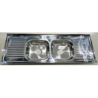1.5m length double bowl kitchen sink stainless steel WY-15050D