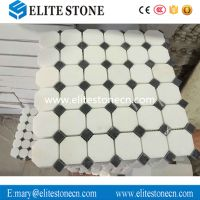 Thassos White 2 inch Octagon Mosaic Tile with Black Dots Polished - Marble from Greece