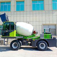 Self-unloading concrete mixer truck