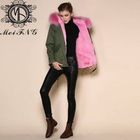 European style coats ladies fur hooded coat thick raccoon fur coat