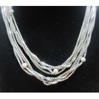 Sterling Silver Jewelry Four Row Box Chain Necklace (N-025) thumbnail image