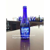 330ml blue glass beverage juice bottle