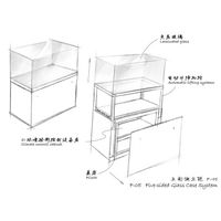 Museum Free standing display cases - Five sided glass case system F-05