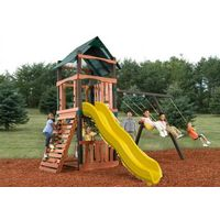 plastic slide wooden outdoor amusement playground equipment