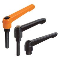 Adjustable handles with threaded stud, steel black-oxide