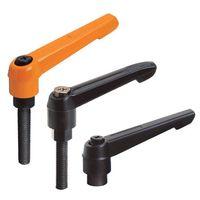 Adjustable handles with threaded stud, steel black-oxide