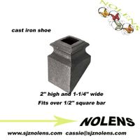 "Ornamental iron collar and bushings/ Cast Iron Base Shoe for 1/2"" Square Bar"
