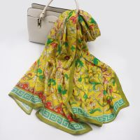 Wholesale Custom Scarf Long Style Flower Print Cotton Scarf for ladies