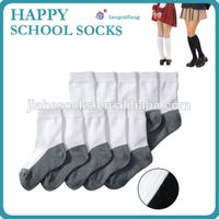 Double color school student socks, white/black student socks
