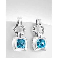 Women Fashion Sterling 925 Silver Blue Topaz Cushion Earrings thumbnail image