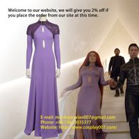 MANLUYUNXIAO Movie Inhumans Medusa Cosplay Costume Women Dress With Cape Custom Made thumbnail image