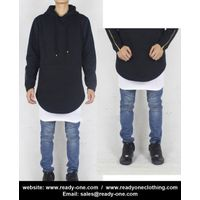 Men Black Biker Long Length Hoodie with Side Zipper