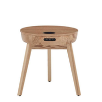 Round Contemporary Wooden Side Table with Wirelss charging Speaker