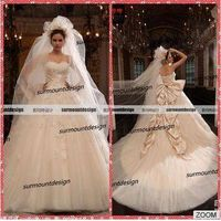 2015 Alibaba Real Sample Ball Gown Tulle Appliqued wedding dress imported from china with Big Bow pr