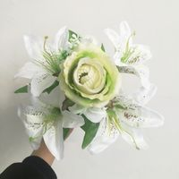 Silk flower wedding bouquet rose and lily Artificial flowers mixed wedding flower