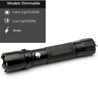 3 Models Dimmable Rechargeable Flashlight with Compass