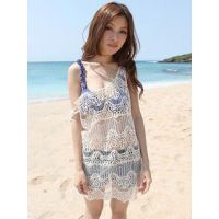 New Summer Women Sexy Solid Hollow Out Beach Wear Mini Dress WT32959