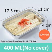 100 Pack 400 ml Rectangular Aluminum Foil Grill Box,Environmentally Friendly Disposable Lunch Box