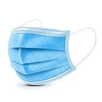 Non-woven fabric disposable mask blue 3 Ply pleated earloop face mask