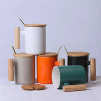 400 ML CERAMICS COFFEE CUP WOODEN HANDLE CUP WITH LID AND SPOON thumbnail image