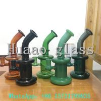 Hand blown 5mm Recycler Color opacity glass smoking pipe with Glass and high borosilicate glass