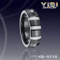 New Design Fashion Jewelry CZ Inlaid Silver Inlay Black Ceramic Ring