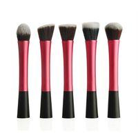 5pcs synthetic claret-red makeup blush foundation blending powder  brushes set