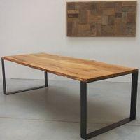Reclaimed Teak Table BLACK DOFF LEGS IRON PLATE 260-90