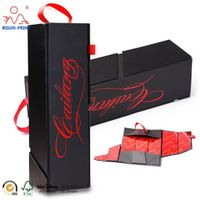 Luxury Custom Printed black Cardboard Magnetic Collapsible Packaging Wine Box Gift thumbnail image