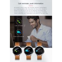 S2 leather strap smart watch 3D curved glass screen fitness tracker