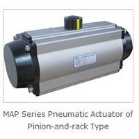 Rotary valve pneumatic actuator-pinion and rack type