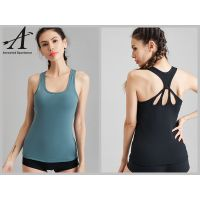 Women Racerback Yoga Workout Tank Top with Built-in Bra