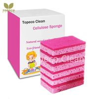 Topeco pink cellulose sponge wood pulp fiber cleaning pad customized package