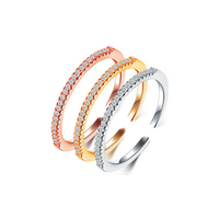 Three Colors Crystal Inlay Sterling Sliver Open Rings thumbnail image