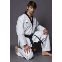 WTF approved Pine Tree black v-neck taekwondo uniform thumbnail image