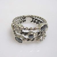 Sterling Silver Jewelry Hematite Three-Row Ring(R-196) thumbnail image